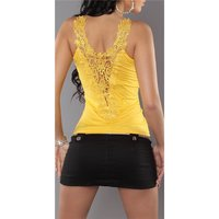SEXY LADIES STRAPPY TOP WITH LACE AT THE BACK YELLOW