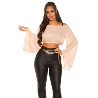 SEXY WOMENS CHIFFON CROP TOP LATINA STYLE CAPPUCCINO