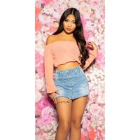 SEXY WOMENS BELLY CHIFFON CROP TOP LATINA STYLE APRICOT