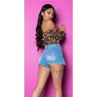 Sexy Womens Belly Chiffon Crop Top Latina Style Leopard