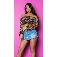 Sexy womens belly chiffon crop top Latina style leopard...