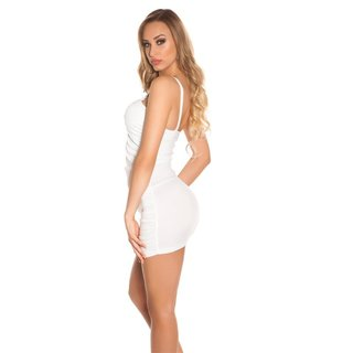 SEXY PARTY TRÄGER-MINIKLEID GERAFFT IN WETLOOK WEISS