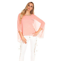 ELEGANT WOMENS CHIFFON BLOUSE WITH BAT SLEEVES CORAL