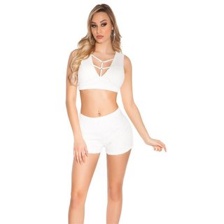 SEXY DAMEN SHORTS HOTPANTS KURZE HOSE IN HÄKEL-OPTIK WEISS