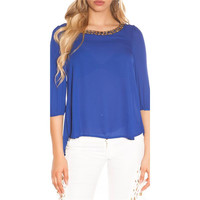 ELEGANT WOMENS CHIFFON BLOUSE WITH HALF-LENGTH SLEEVES BLUE