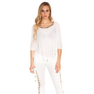 ELEGANT WOMENS CHIFFON BLOUSE WITH HALF-LENGTH SLEEVES WHITE