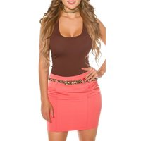 ELEGANT WOMENS BUSINESS MINISKIRT INCL. LEO BELT CORAL