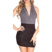 SEXY PARTY MINIDRESS GATHERED WITH COWL-NECK GREY/BLACK