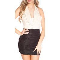 SEXY PARTY MINIDRESS GATHERED WITH COWL-NECK BEIGE/BLACK