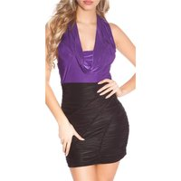 SEXY PARTY MINIDRESS GATHERED WITH COWL-NECK PURPLE/BLACK