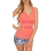 SEXY WOMENS FINE RIB TANKTOP WITH BUTTON FACING CORAL