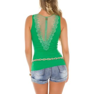 Sexy womens fine rib tanktop with button facing green