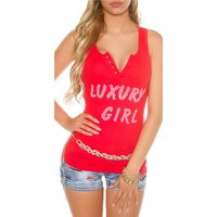 SEXY WOMENS FINE RIB TANKTOP WITH BUTTON FACING RED