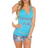 SEXY WOMENS FINE RIB TANKTOP WITH BUTTON FACING TURQUOISE