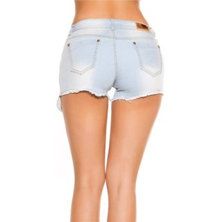 Sexy Bleached Blue Damen Jeans Hotpants Destroyed Hellblau