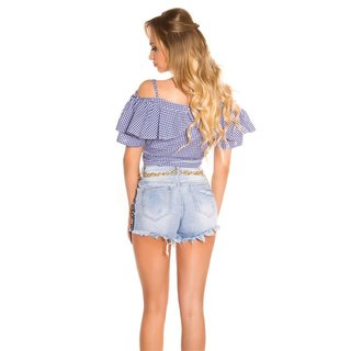 DAMEN TRÄGER-/OFF-SHOULDER BLUSE KARIERT MIT VOLANTS BLAU