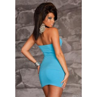 SEXY BANDEAU MINIDRESS WITH RUFFLES BLUE