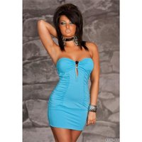 Sexy banfdeau mini dress with ruffles blue