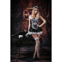 SEXY 6 PCS MAID COSTUME OUTFIT GOGO SET CLUBWEAR BLACK/WHITE