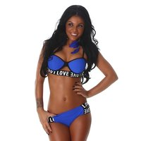 SEXY WOMENS PUSH-UP BIKINI LOVE WITH STRAPS ROYAL BLUE