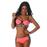 SEXY WOMENS PUSH-UP BIKINI LOVE WITH STRAPS NEON-APRICOT