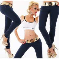SEXY WOMENS DRAINPIPE JEANS INCL. STRETCH BELT DARK BLUE