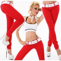 SEXY WOMENS DRAINPIPE JEANS INCL. STRETCH BELT RED