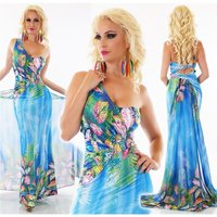 FLOOR-LENGTH ONE-SHOULDER FLOWER MAXI DRESS BLUE