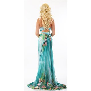 BODENLANGES ONE-SHOULDER ABENDKLEID BLUMEN MAXIKLEID GRÜN