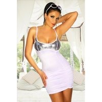 Sexy Party-Kleid Minikleid mit Pailletten Clubwear Weiß