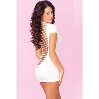 SEXY STRETCH CLUB MINIDRESS WITH CUTS BLACK LIGHT GOGO WHITE