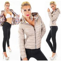 QUILTED LADIES JACKET BLOUSON WITH XXL ZIPPER AND HOOD BEIGE