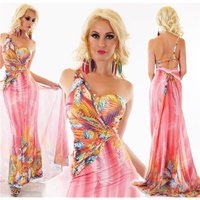 FLOOR-LENGTH ONE-SHOULDER FLOWER MAXI DRESS FUCHSIA
