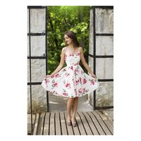 NOBLE A-LINE CHIFFON DRESS WITH FLOWERS CREME-WHITE