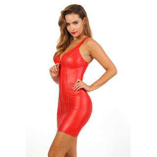 Sexy Minikleid Wetlook Strass Gogo Club Rot