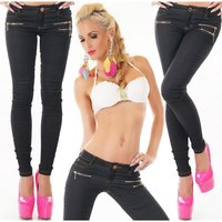 SKINNY WOMENS JEGGINGS TROUSERS IN JEANS LOOK WITH ZIPS...