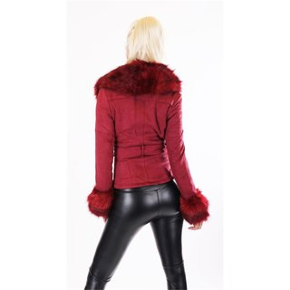 EDLE DAMEN WINTER JACKE WILDLEDER-OPTIK MIT KUNSTFELL BORDEAUX