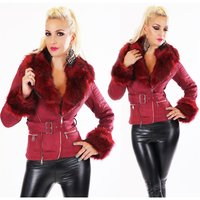 NOBLE WOMENS WINTER JACKET BUCKSKIN LOOK WITH FAUX FUR...