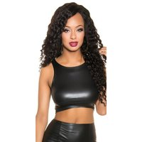 Sexy bauchfreies Damen Wetlook Crop-Top Clubwear Schwarz...