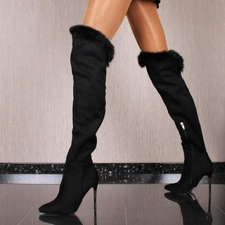 Damen Overknee Stiefel in Wildleder-Optik mit Fell Schwarz