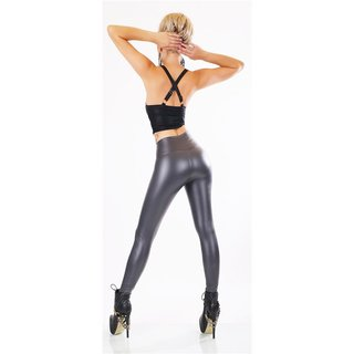 Sexy thermo leggings in shiny wet look with warm lining grey