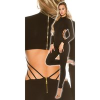 Womens long-sleeved jumpsuit catsuit with cut out back black