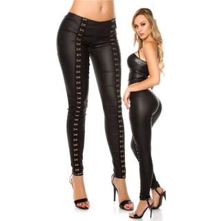 49f95cfe37a867 Skinny womens treggings in leather look with deco hooks black ...