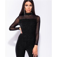 Womens glamour high necked jumpsuit with chiffon black