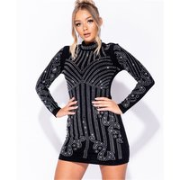 Exclusive glamour high necked bodycon minidress black