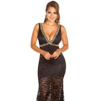 Floor-length glamour evening dress in red carpet look black