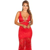 Floor-length glamour evening dress in red carpet look red