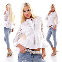 Elegant womens blouse with long lace sleeves white