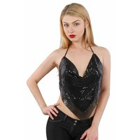 Bauchfreies Neckholder Damen Metalltop Party Clubwear...