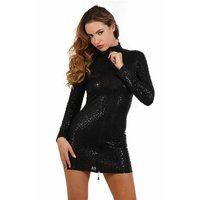 Shiny long-sleeved minidress zipper leopard look clubwear...